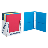 Oxford Leatherette Two Pocket Portfolio with Fasteners Assorted Colors