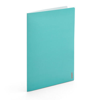 Poppin Aqua  Light Gray 2Pocket Poly Folder