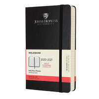 Moleskine 18 month Black 2021 LargeCalendar with Foil embossed logo.