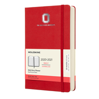 Moleskine 18 month Red 2021 Large Calendar with Foil embossed logo.