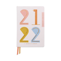 Design Works Abstract Numbers 2021  2022 Vegan Leather 17  month Planner
