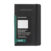 Black pocket 12 mo Planner  Hard Cover Jan 2018  Dec 2018 School Name Foil Stamped