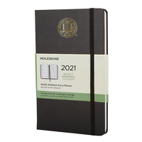 Moleskine 12 month Black  2021 LargeCalendar with Foil embossed Seal