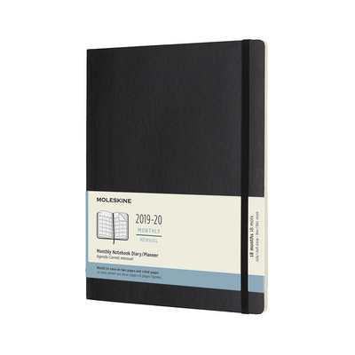 2020 Moleskine 18 Month Planner, Monthly Notebook, Soft Cover, Black, XL