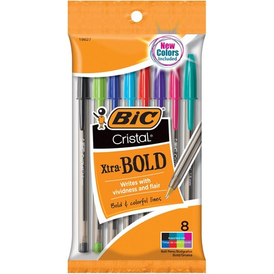BIC Cristal Xtra Bold Pens Assorted 8Pack
