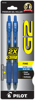 Pilot G2 Retractable Roller Gel Pen Fine 0.7mm Blue 2Pack