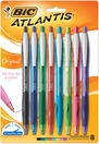 BIC Atlantis Original Retractable Ball Pen Medium Point 1.00mm Assorted Colors 8Pack
