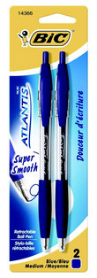 BIC Atlantis Original Retractable Ball Pen Medium Point 1.00mm Blue 2Pack