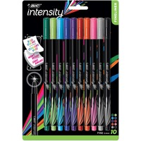 BIC Intensity Fineliner Marker Pens Fine Point 0.4mm Assorted Colors 10Pack