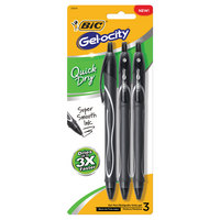 BIC Gelocity Quick Dry Retractable Gel Pen Medium Point 0.7mm Black 3Pack