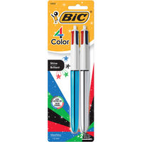 BIC 4Color Shine Ball Pen Medium Point Metallic Barrel 2Pack