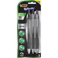 BIC Gelocity Retractable Gel Pen Medium 0.7mm Black 3Pack