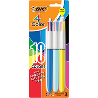 BIC 4Color Retractable Medium Point 1.0 mm Ballpoint Pens, Assorted Ink, 3 Count