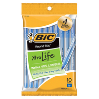 BIC Round Stic Xtra Life Ball Pen, Medium 1.0mm, Blue Ink, 10 Count