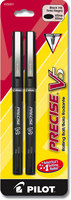 Pilot Precise V5 Rolling Ball Stick Pens, Extra Fine Point (0.5mm), Black, 2 Count