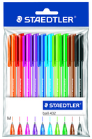 10pk BALL PT PENS ASST COLORS