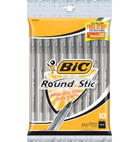 BIC Round Stic Xtra Life Ball Pen Black 10Pack