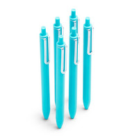 Poppin Aqua Retractable Gel Luxe Pens w Blue Ink, Set of 6
