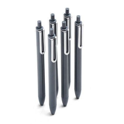 Poppin Dark Gray Retractable Gel Luxe Pens, Black Ink, Set of 6