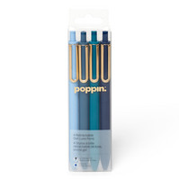 Poppin Assorted Blues Retractable Gel Luxe Pens, Set of 4