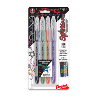 Pentel Sparkle Pop Metallic Gel Pen 1.0mm Bold Line Assorted Colors 4Pack