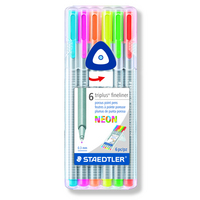 Staedtler TriPlus Fineliner 0.3mm Neon Color Assorted 6Pack