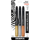 Zebra Metallic Brush Pen 3Pack