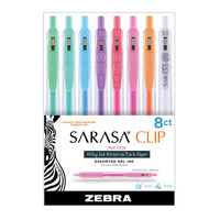 Zebra Sarasa Clip Gel Retractable Pen 0.5mm Milk Colors Assorted 8Pack