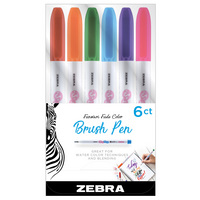 Zebra Funwari Single Ended Super Fine Brush Pen Assorted 6Pack