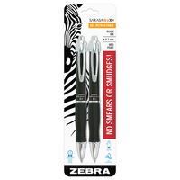 Zebra Sarasa Dry X10 Gel Retractable Pen 0.7mm Black Ink 2 Count