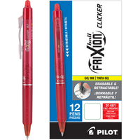Pilot FriXion Clicker Erasable Gel Ink Pens, Fine Point (0.7mm), Red, 12 Count