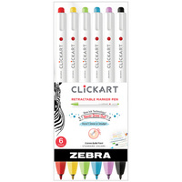 Zebra ClickArt Retractable Marker Pen 0.6mm Assorted 6Pack
