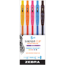 Zebra Sarasa Clip Retractable Gel Pen Friendly Color Set 0.5mm Assorted Colors 5Pack