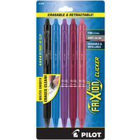 Pilot FriXion Clicker Erasable Gel Ink Pen Fine Point (0.7mm) Assorted Colors 5 Count