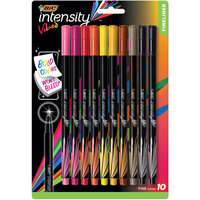 BIC Intensity Vibes Fineliner Marker Pen Fine Point (0.4mm) Assorted Colors 10 Count