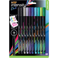 BIC Intensity Chill Fineliner Marker Pen Fine Point (0.4mm) Assorted Colors 10 Count