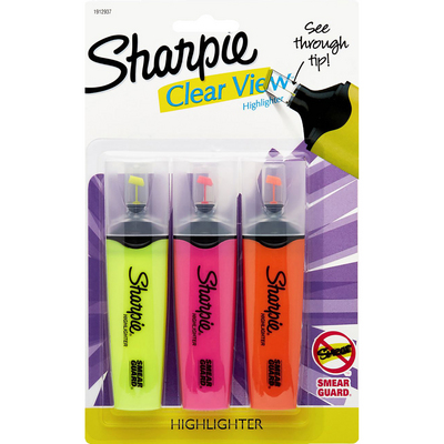 Sharpie Clear View Highlighters Chisel Tip Assorted Colors 3Pack