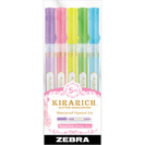 Kirarich Glitter Highlighter Chisel Tip Assorted 5Pk