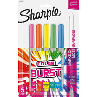 Sharpie Color Burst Permanent Markers, UltraFine Point  Assorted Colors, 5 Count