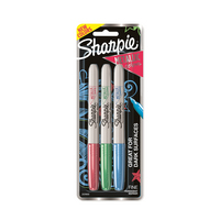 Sharpie Metallic Colors Permanent Markers Fine Point Assorted 3Pack