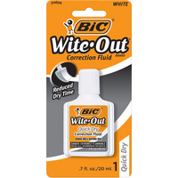 BIC QuickDry WiteOut Correction Fluid with Foam Brush
