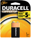 Duracell 9V 1 Pack Battery Coppertop