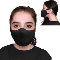2 Pk Protective Face Mask, 3 Ply, soft and breathable.  Washable and Reuseable.  Black