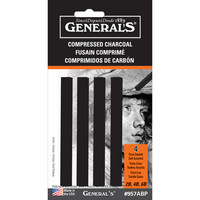 General Pencil Compressed Charcoal Set, Black, 4Pkg.