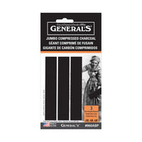 General Pencil Jumbo Compressed Charcoal Set, 3Sticks
