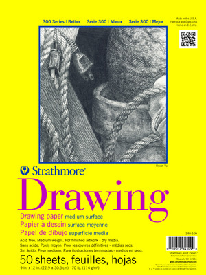 Strathmore Drawing Paper Pad, 300 Series, 50 Sheets, 9 x 12