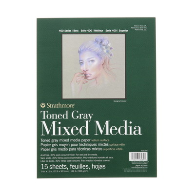 Strathmore Toned Mixed Media Paper Pad, 400 Series, 9 x 12, 15 Sheets, Gray