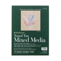 Strathmore Toned Mixed Media Paper Pad, 400 Series, 9 x 12, 15 Sheets, Tan