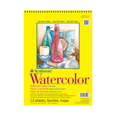 Strathmore Watercolor Paper Pad, 300 Series, 9 x 12, TapeBound