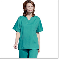 Unisex V-Neck Fashion Poplin Scrub Shirt, Fir Green